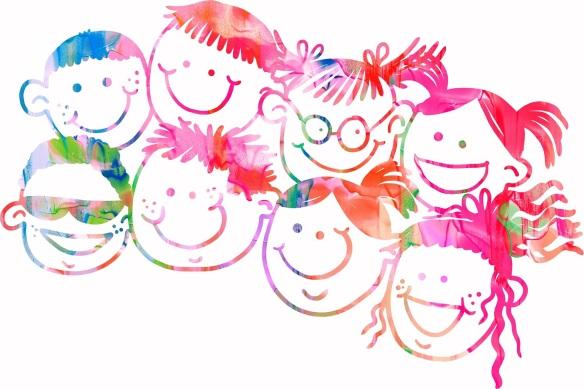Watercolor happy family